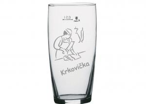 půllitr - sklo na pivo bez ucha s obrázkem řezníka